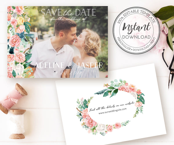 Save the Date Card Photo Template, Engagement Photo Save the Dates, Editable Wedding Date Template