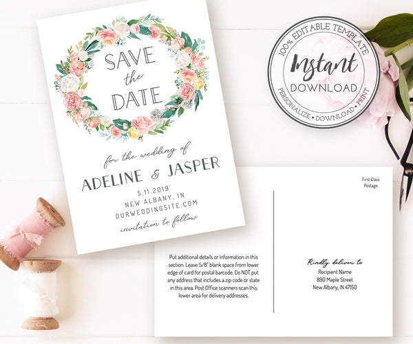 Pink Blush Floral Save the Date Card, 2 sizes, Instant Download Template