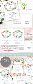 Pink Blush Floral Save the Date Card, 2 sizes, Instant Download Template, Artful Life Designs