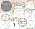 Pink Blush Floral Wedding Seating Chart Matching Stationery Items