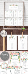 Pink Blush Floral Wedding Seating Chart, Seating Assignment Cards, Instant Download Editable Template, Artful Life Designs