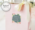 Pink Blush Floral Square Favor Tags, Wedding or Shower Gift bag stickers, Instant Download Editable Template