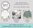 Floral Wedding or Shower Square Favor Tag Instant Download Editable Template