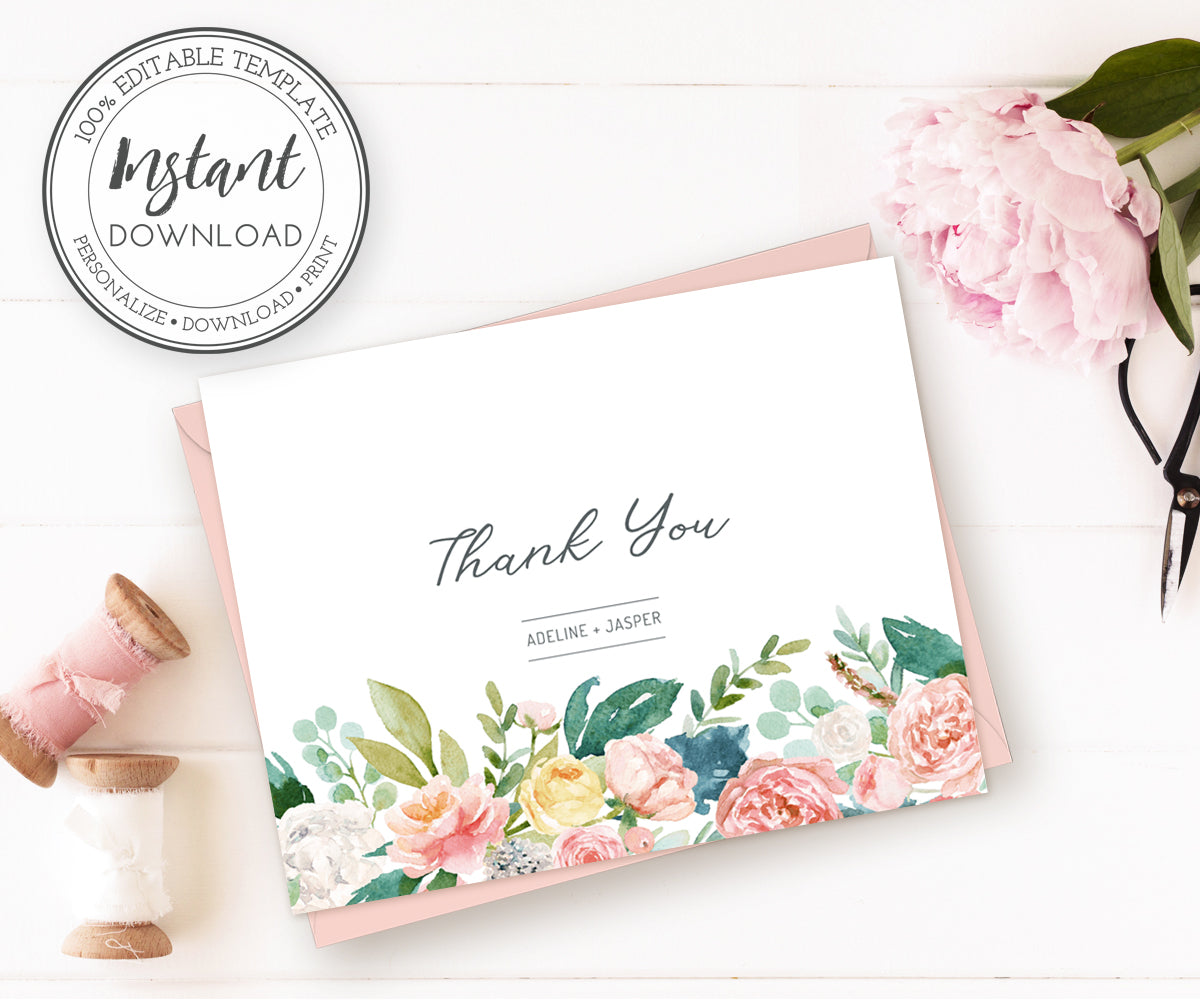 Pink Blush Floral Thank You Cards Editable Instant Download Template, Wedding Thank You Note Cards