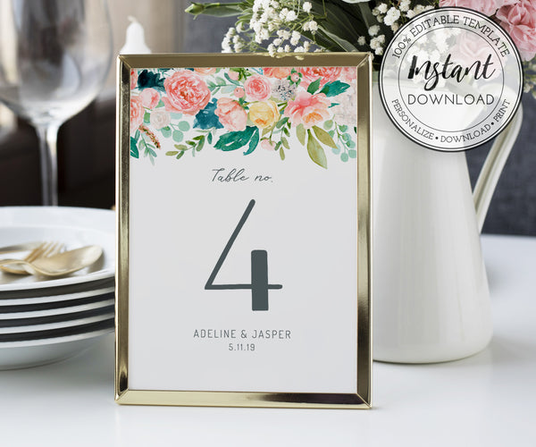 Pink Blush Floral Table Numbers, Editable Reception Table Number Template, Wedding Printable