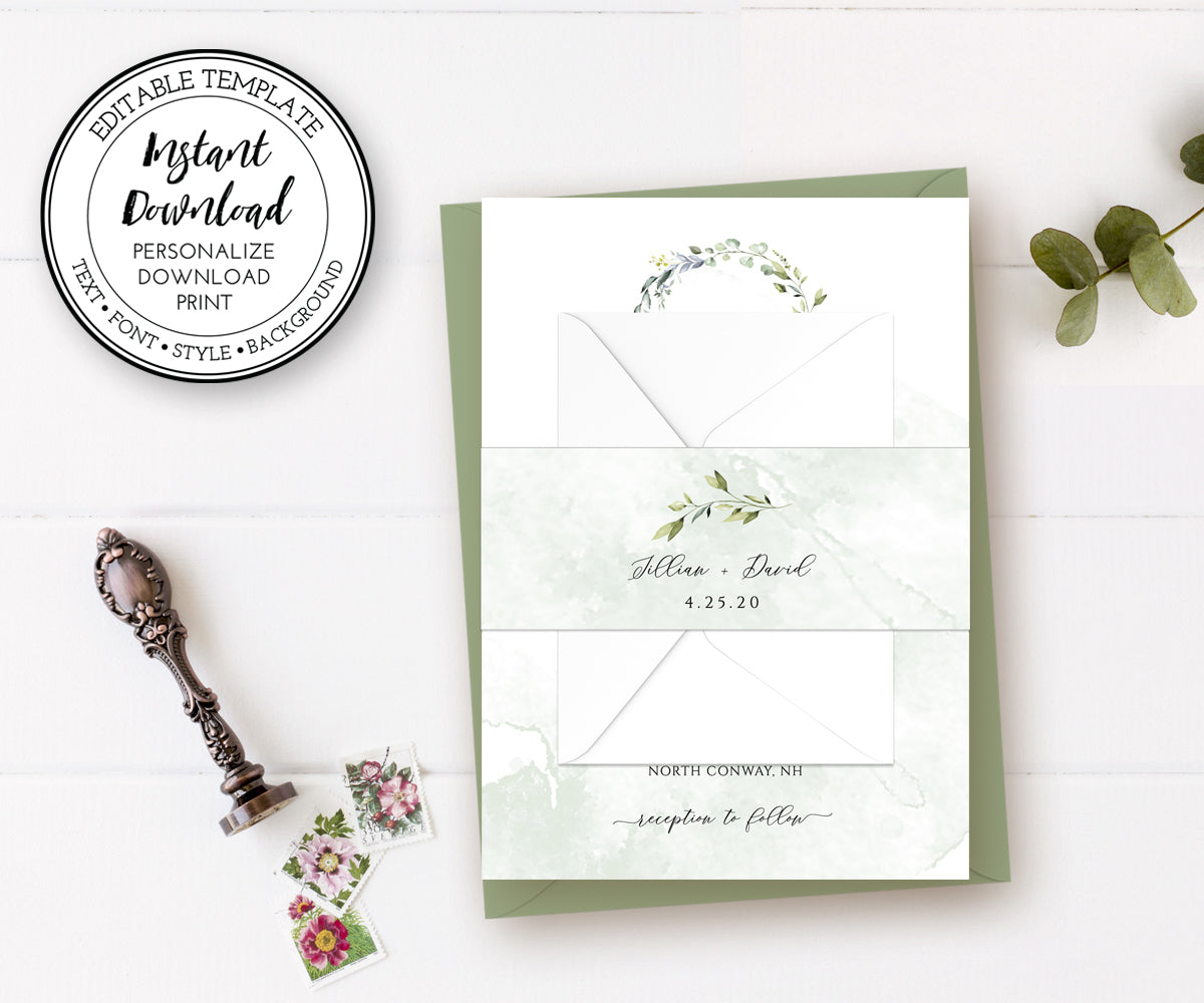Watercolor Greenery Wedding Invitation Wrap, Belly Band Template, Invitation Wrapper, DIY Belly Band, Instant Download Editable Template