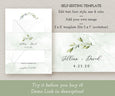 Watercolor Greenery Wedding Invitation Wrap, Belly Band Template, Invitation Wrapper, DIY Belly Band, Instant Download Editable Template, Editing options