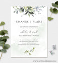 Change of Plans, Postponed Wedding Announcement, Rescheduled Wedding, Watercolor Greenery, Editable Template, Instant Download