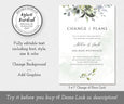 Watercolor Greenery, Change of Plans, Postponed Wedding Announcement, Rescheduled Wedding, Watercolor Greenery, Editable Template, Instant Download