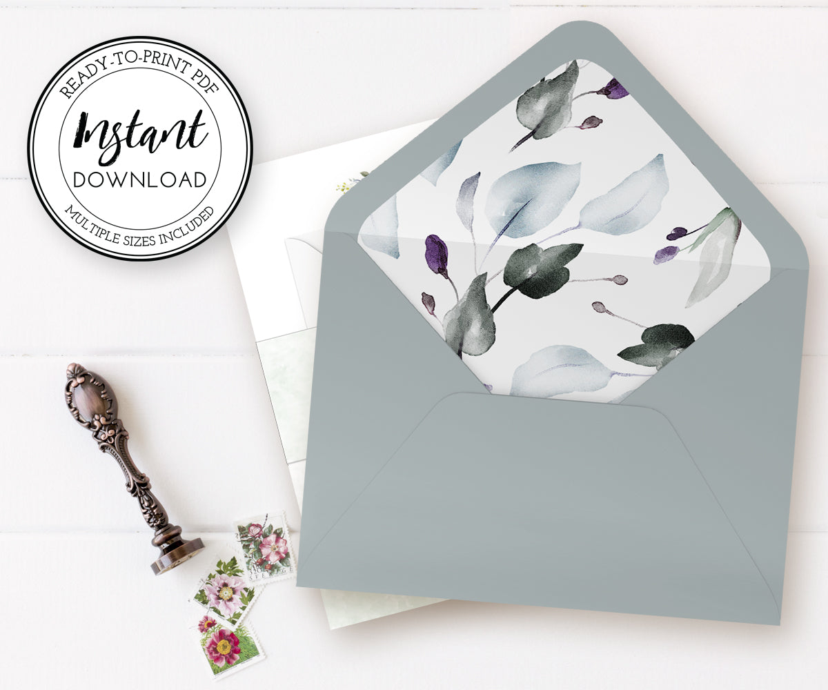 Watercolor Leaves Envelope Liner, Printable Envelope Liner, A7.5, A7, A2, A1 4 bar, Euro Flap, Square Flap, Instant Download, Ready to Print PDF