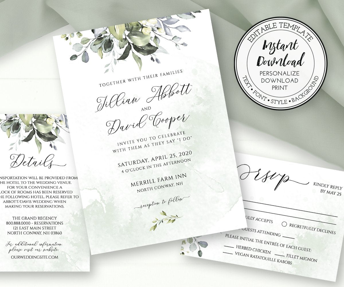 Watercolor Boho Greenery with Eucalyptus Leaves Wedding Invitation Template Suite
