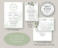 Watercolor Boho Greenery with Eucalyptus Leaves Wedding Invitation, RSVP Card, Details Card Templates