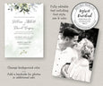 Watercolor Boho Greenery with Eucalyptus Leaves Wedding Invitation with optional back for photos
