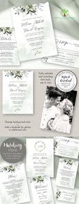 Watercolor Boho Greenery with Eucalyptus Leaves Wedding Invitation Template Suite & Matching Stationery, Artful Life Designs