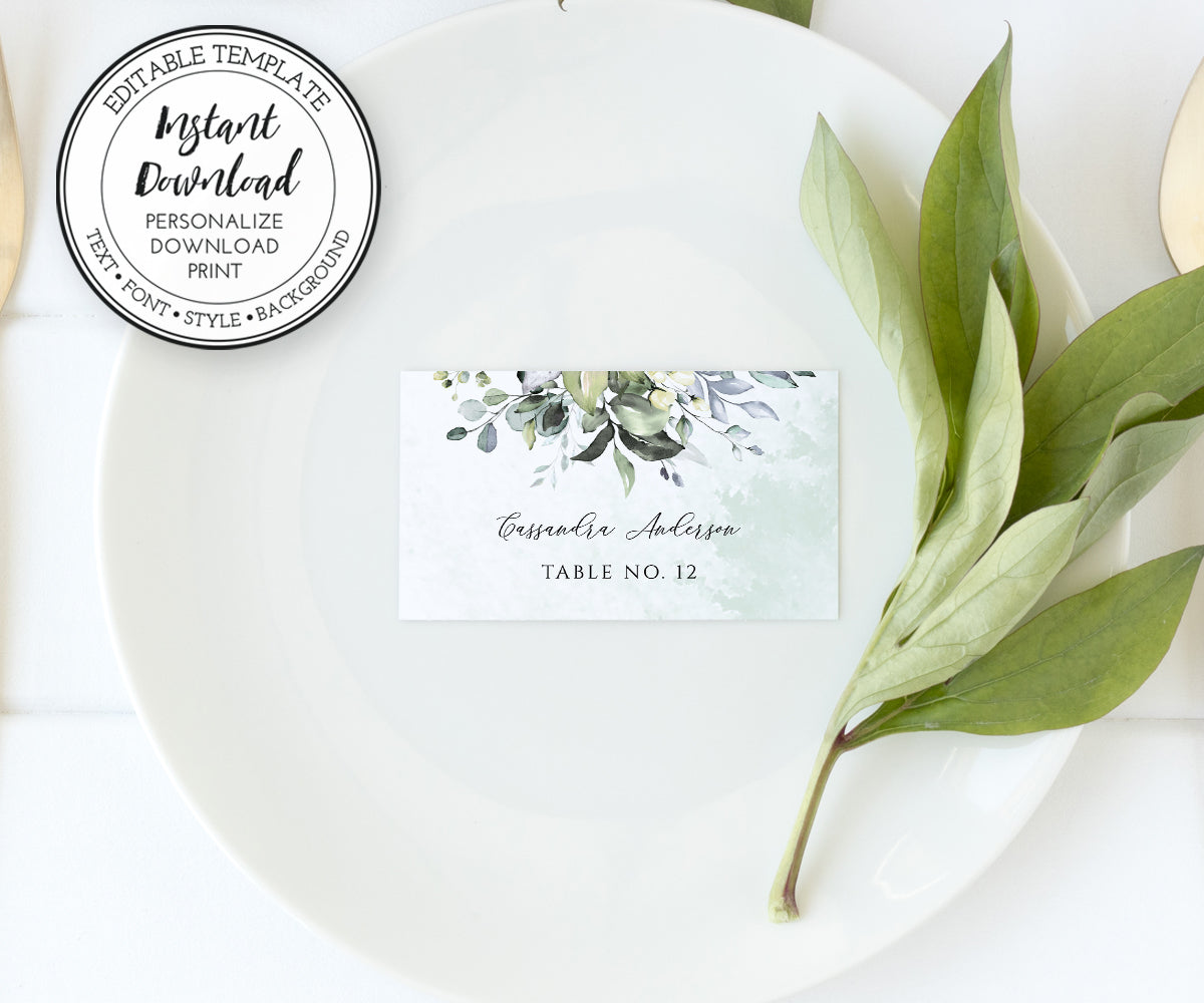 Place Card Template, Watercolor Greenery Flat Name Card