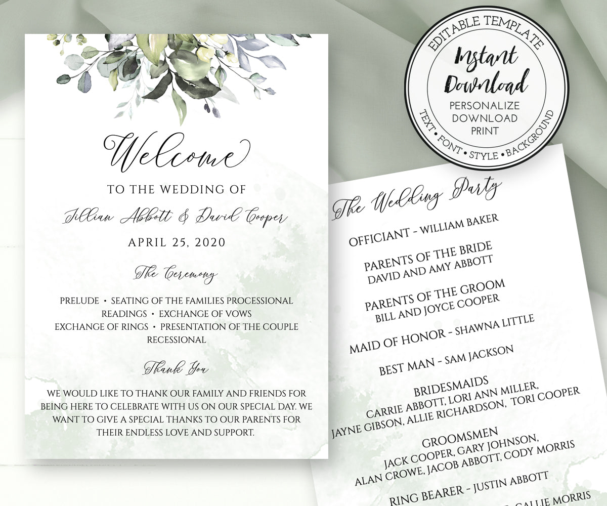 Wedding Program Template, Watercolor Greenery Wedding Program, Order of Service, DIY Program, 5 x 7""