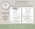 "Wedding Program Template, Watercolor Greenery Wedding Program, Order of Service, DIY Program, 5 x 7"", Demo Link"