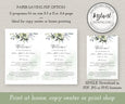 "Wedding Program Template, Watercolor Greenery Wedding Program, Order of Service, DIY Program, 5 x 7"", Download Options"
