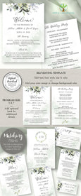 "Wedding Program Template, Watercolor Greenery Wedding Program, Order of Service, DIY Program, 5 x 7"", Artful Life Designs"