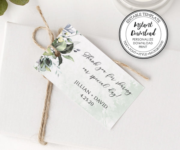 Horizontal Wedding Favor Tag Template, Welcome Tag, Shower Favor Tag, Favor Label, Favor Sticker, Instant Download Editable Template