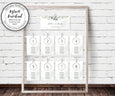 Wedding Seating Chart Template, Seating Chart Cards, Watercolor Greenery, Hanging Seating Chart Cards, Seating Plan, DIY Wedding Seating Chart