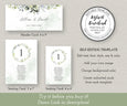 Wedding Seating Chart Template, Seating Chart Cards, Watercolor Greenery, Hanging Seating Chart Cards, Seating Plan, DIY Wedding Seating Chart, Editing