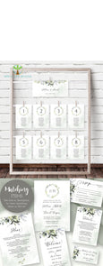 Wedding Seating Chart Template, Seating Chart Cards, Watercolor Greenery, Hanging Seating Chart Cards, Seating Plan, DIY Wedding Seating Chart, Artful Life Designs
