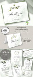 Greenery Thank You Card Template, Wedding or Bridal Shower Thank You, Watercolor Greenery Thank You Printable, Two Sizes, Artful Life Designs