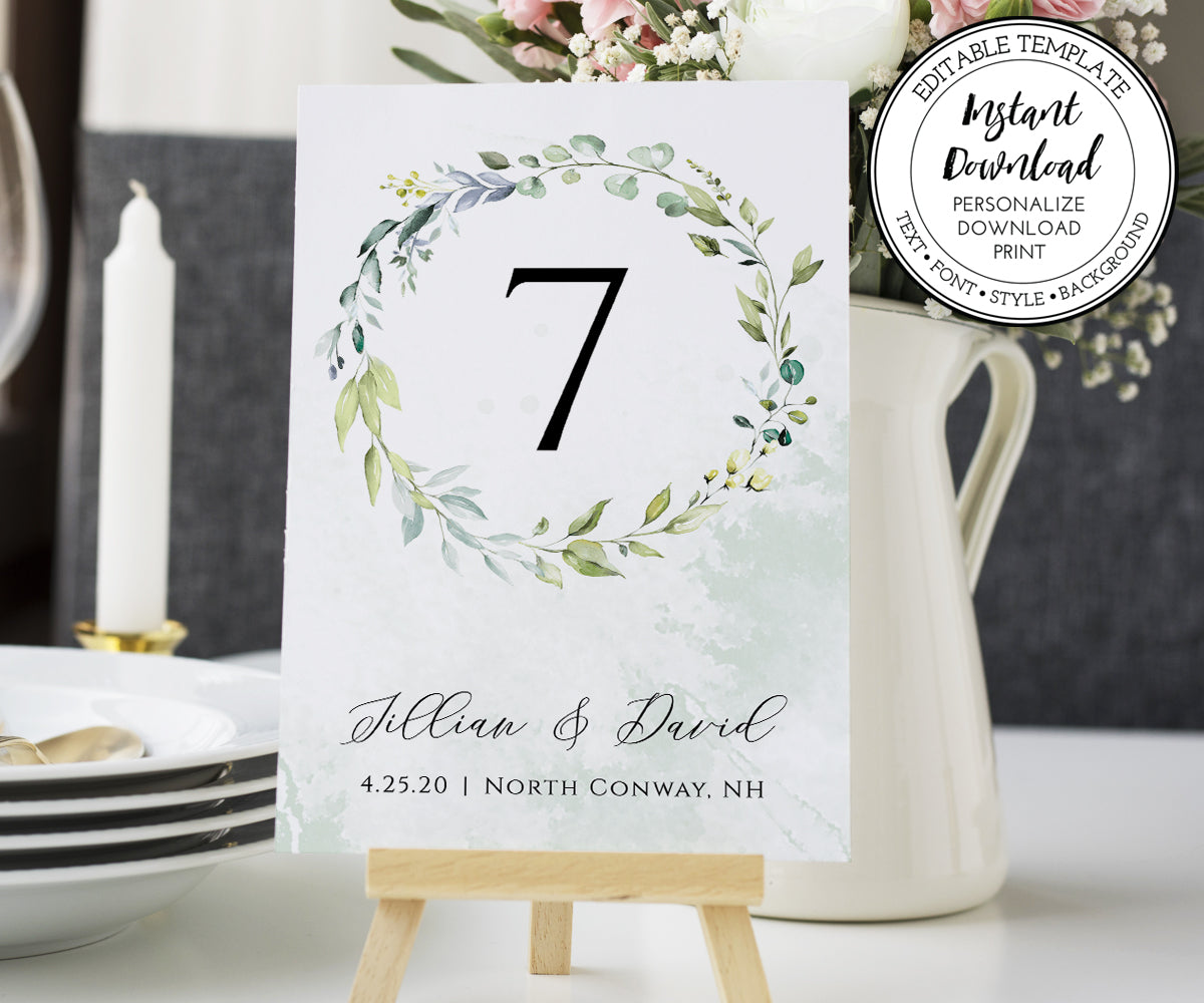 "Wedding Table Numbers Template, DIY Watercolor Greenery Table Numbers, Reception Table Numbers, 5 x 7"", 4 x 6"""