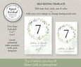 "Wedding Table Numbers Template, DIY Watercolor Greenery Table Numbers, Reception Table Numbers, 5 x 7"", 4 x 6"", Demo link"