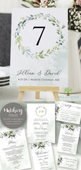 "Wedding Table Numbers Template, DIY Watercolor Greenery Table Numbers, Reception Table Numbers, 5 x 7"", 4 x 6"", Artful Life Designs"