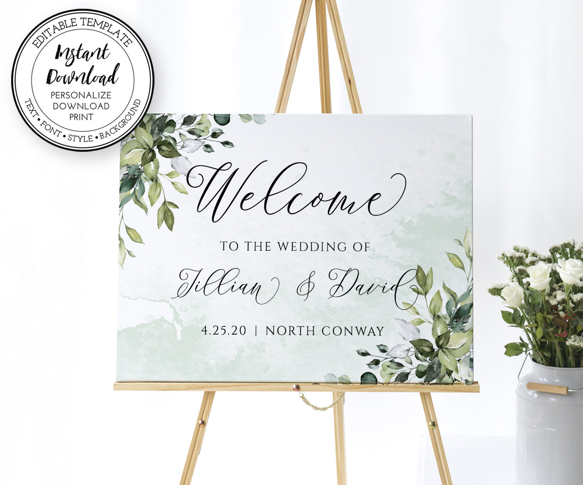 Greenery Wedding Welcome Sign Template, Wedding or Bridal Shower Welcome Sign, Rustic Wedding, Boho Wedding, Landscape Orientation, Instant Download
