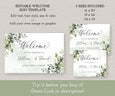 Greenery Wedding Welcome Sign Template, Wedding or Bridal Shower Welcome Sign, Rustic Wedding, Boho Wedding, Landscape, 3 sizes included, Instant Download, Demo Link