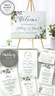 Greenery Wedding Welcome Sign Template, Wedding or Bridal Shower Welcome Sign, Rustic Wedding, Boho Wedding, Landscape, 3 sizes included, Instant Download, Artful Life Designs