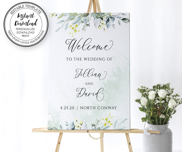 Greenery Wedding Welcome Sign Template, Wedding or Bridal Shower Welcome Sign, Rustic Wedding, Boho Wedding, Portrait, 3 sizes included