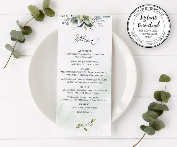Wedding Menu Template, Editable Greenery Wedding Menu Instant Download, 3.68 x 9""