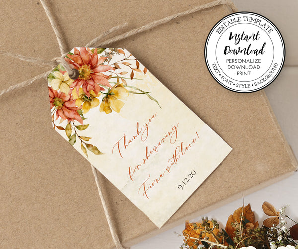 Fall Floral Rustic Bridal Shower Favor Tags Vertical