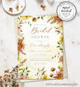 Fall Floral Bridal Shower Invitation Editable Template
