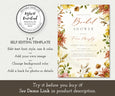 Self Editing Template Fall Rustic Bridal Shower Invitation