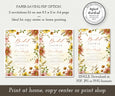 Paper saver option for fall floral Bridal Shower invitation template