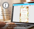 Edit online at templett.com, fall floral bridal shower invitation template