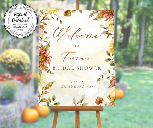 Fall Floral Bridal Shower Welcome Sign, Rustic Bridal Shower Sign
