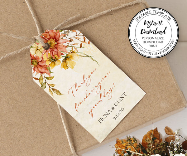 Rustic Fall Floral Wedding Favor Tag