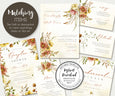Artful Life Designs Fall Floral Wedding Stationery & Sign set W105, wedding printables