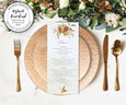 Rustic Fall Floral Menu