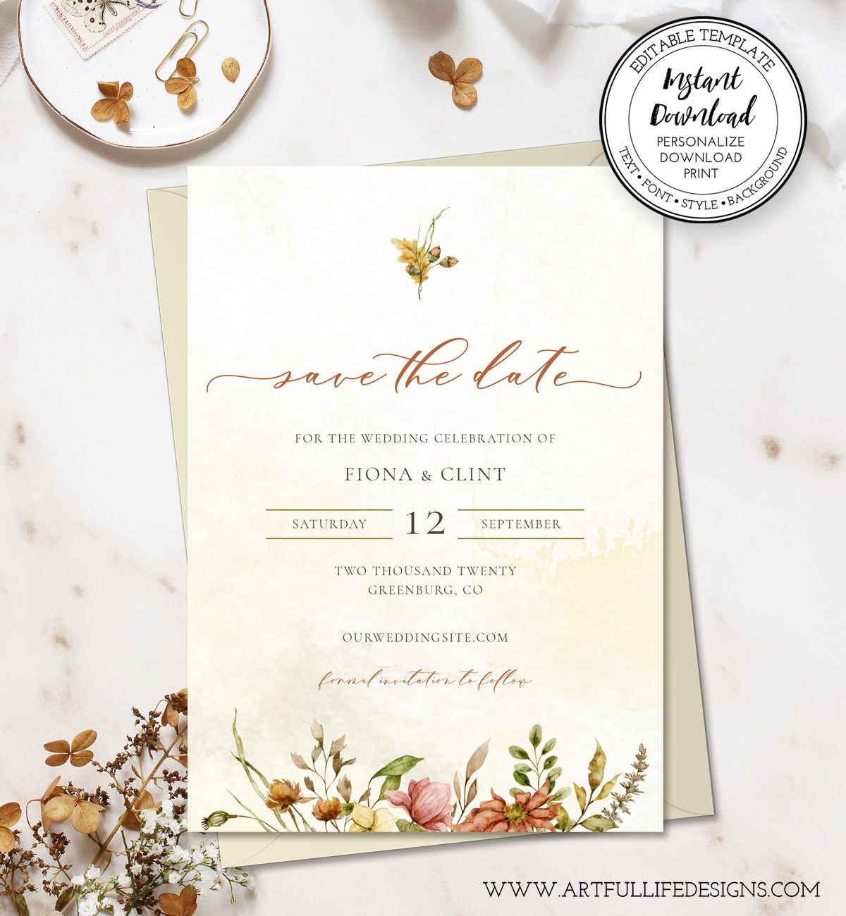 Rustic Fall Floral Save the Date Card