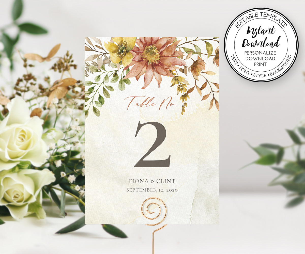 Rustic Fall Floral Table numbers