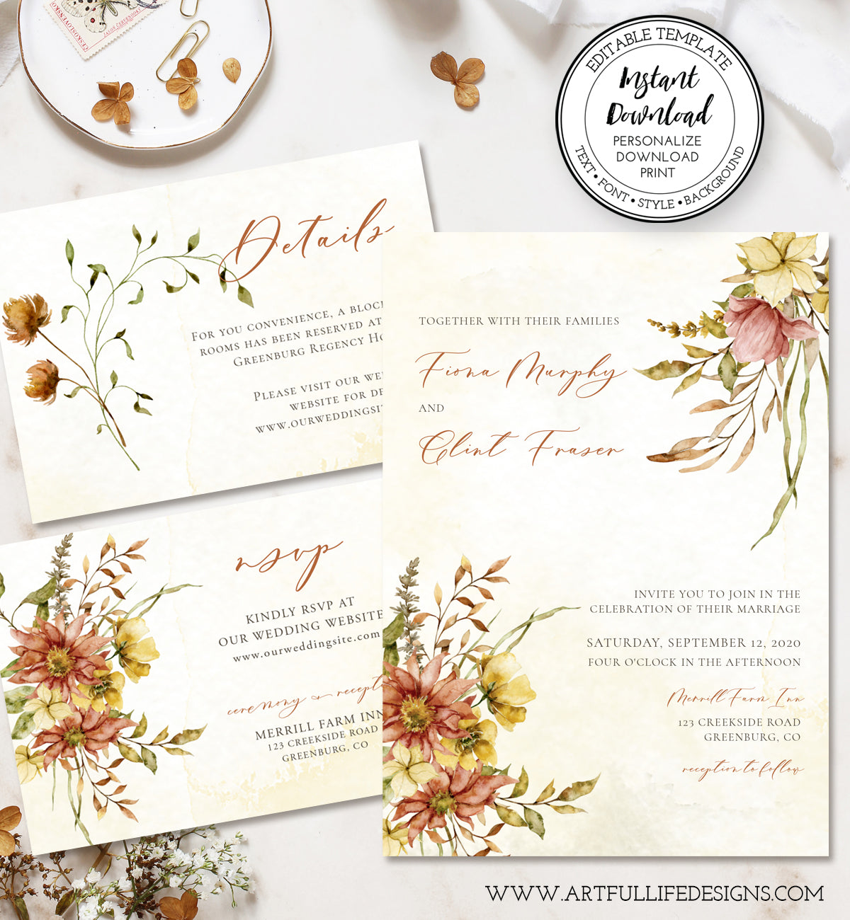 Fall Floral Wedding Invitation Suite including invitation, RSVP, Details card, Editable Templates