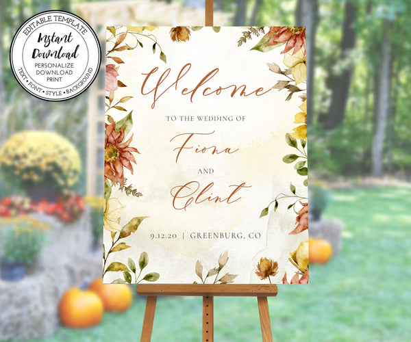 Rustic Fall Floral Wedding Welcome Sign