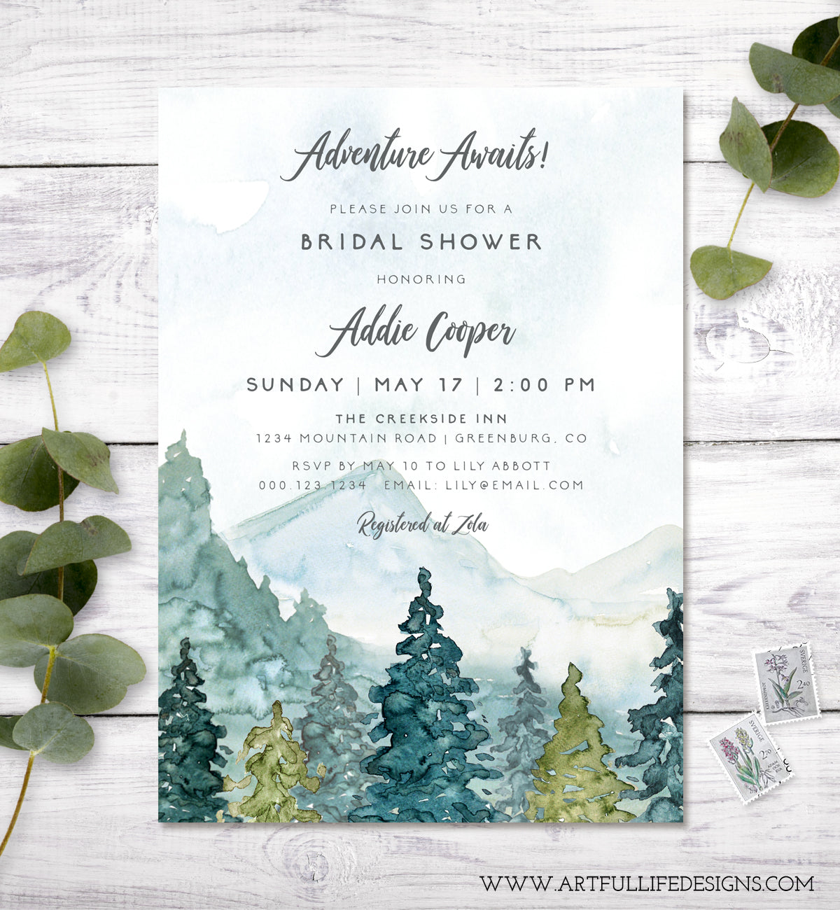 Adventure Awaits mountains and pines rustic bridal shower invitation